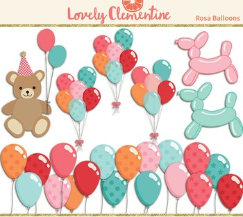 Rosa birthday clip art images, balloon clip art, party clip art