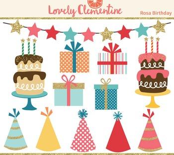 Rosa birthday clip art images, cake clip art, party clip art