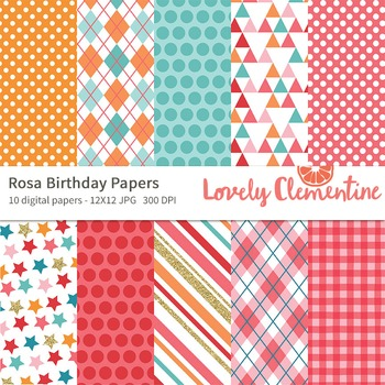 Rosa birthday papers 12x12, birthday digital papers