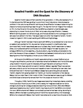 Rosalind Franklin DNA Discovery Story and Question Set