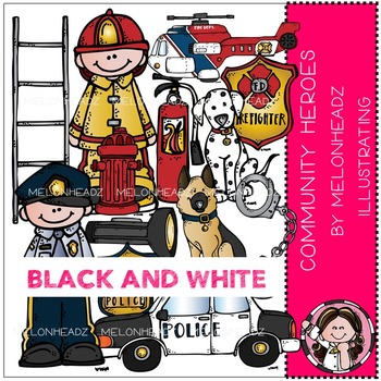 Community Heroes clip art - BLACK AND WHITE- by Melonheadz
