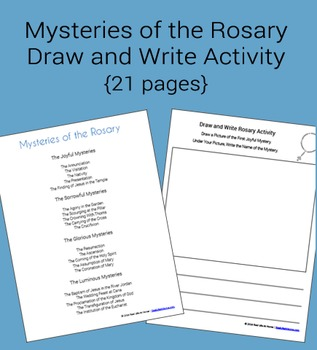 rosary worksheet teachers pay teachersrosary packet draw and write mysteries of the rosary