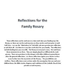 Rosary Reflections Joyful Mysteries