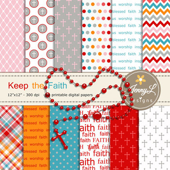 Rosary Religious digital paper and clipart