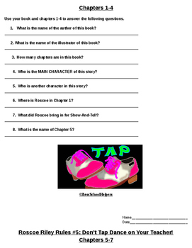Roscoe Riley Rules #5-Don't Tap-Dance on Your Teacher Comprehension Packet