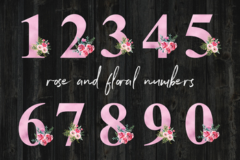 Rose And Floral Numbers Clipart