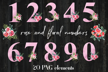 Rose And Floral Numbers Clipart, Rose Foil And Watercolor Flower Numbers