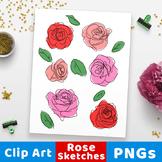 Rose Clipart, Rose Sketch Clip Art, Floral Clipart, Flower