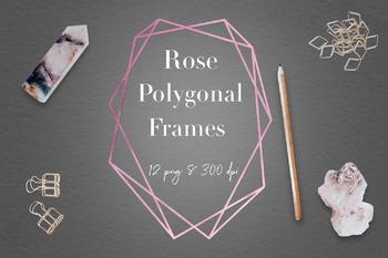 Rose Crystal Frames, Rose Gold Geometric Frames Clipart, Rose Polygonal Frames