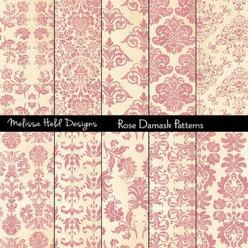 Rose Pink Damask Patterns