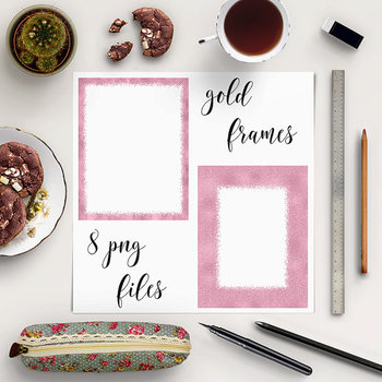 Rose Digital Borders Clipart, Rose Gold Photo Frame {Pretty Graphics}