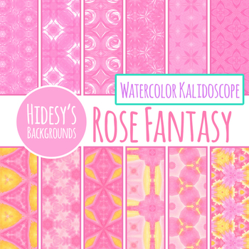 Rose Fantasy - Watercolour Kalidoscope Digital Paper / Background Clip Art