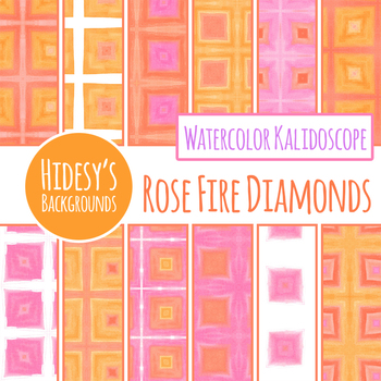 Rose Fire Diamonds Watercolor Kalidoscope Digital Paper / Clip Art Commercial