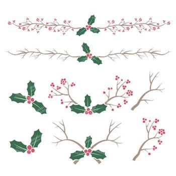 Rose Garden Christmas Holly Clipart