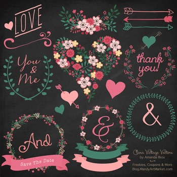 Rose Garden Floral Heart Clipart