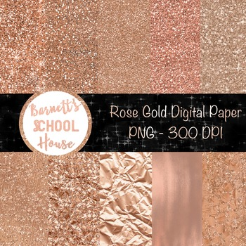 Rose Glitter Digital Paper Pack {Commercial Use}