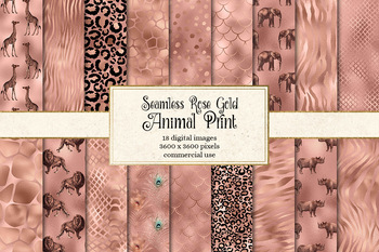 Rose Gold African Safari Animal Skins digital paper and seamless patterns