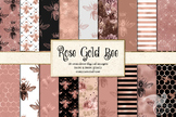Rose Gold Bee digital paper, honey bee seamless patterns, backgrounds