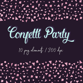 Rose Gold Confetti Clipart, Digital Confetti Borders, Rose Confetti Scraps