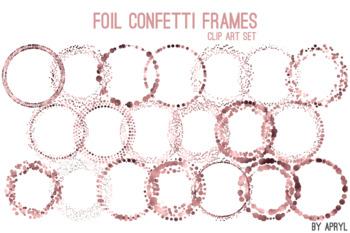 Rose Gold Confetti Round Frames 20 PNG Clip Art 8in Foil Metallic