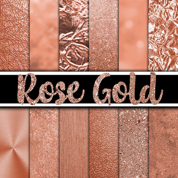 Rose Gold Digital Paper Textures - 12 Different Papers - 12 x 12