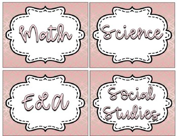 Rose Gold Editable Subject Labels
