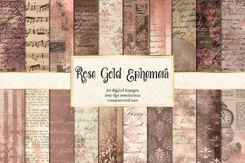 Rose Gold Ephemera Digital Paper