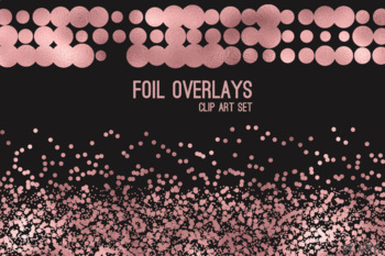 Rose Gold Foil Confetti Overlays 20 PNG Clip Art for 12x12 Papers