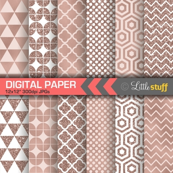 Rose Gold Geometric Pattern Digital Paper Pack