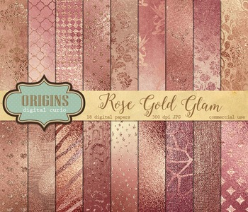 Rose Gold Glam glitter digital paper textures backgrounds