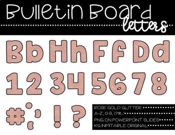 Rose Gold Glitter Bulletin Board Letters