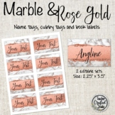Rose Gold & Marble Editable Cubby Tags | Name Tags | Book Bin Labels