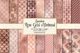 Rose Gold Mermaid digital paper, seamless mermaid scale pa