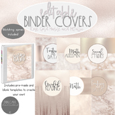 Rose Gold Metallic and Marble Binder Covers and Spines EDITABLE