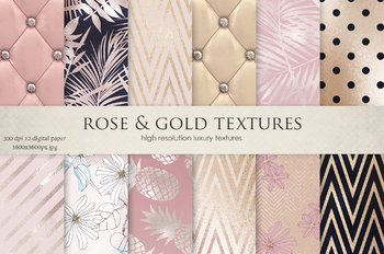 Rose, Gold, Navy Blue, Flowers & Luxury Textures