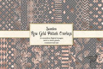 Rose Gold Pattern Overlays - seamless png clipart graphics