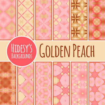 Rose Gold / Peach Digital Papers / Patterns / Backgrounds Clip Art Set