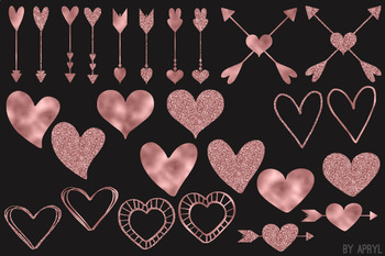 Rose Gold Pink Hearts Valentine's Day Clip Art 74 PNG Glitter Foil Arrow Strands