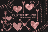 Rose Gold Pink Hearts Valentine's Day Clip Art 74 PNG Glit