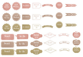Rose Gold Planner Stickers