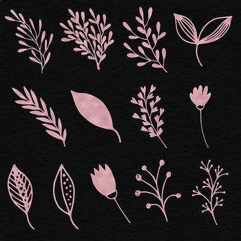 Rose Gold Plants Clipart, Floral Ornaments {Pretty Graphics}
