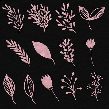 Rose Gold Plants Clipart, Floral Ornaments, Pink Rose Flowers