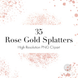 Rose Gold Splatters Clipart, Rose Gold Dust PNGs, Rose Go