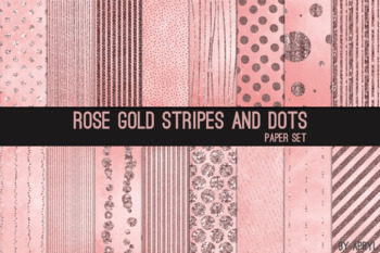 Rose Gold Stripes Dots Glitter 12x12 Printable Scrapbook Paper Texture