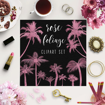 Rose Gold Tree Clip Art, Tropical Tree Elements, Rose Clipart
