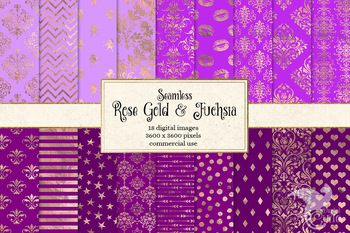 Rose Gold and Fuchsia digital paper, hot pink and purple seamless patterns