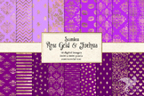 Rose Gold and Fuchsia digital paper, hot pink and purple s
