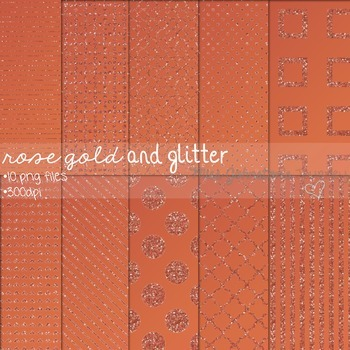 Rose Gold and Glitter Digital Papers