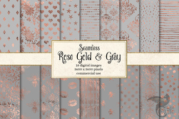 Rose Gold and Gray Digital Paper, seamless patterns