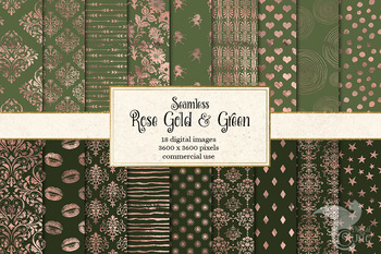 Rose Gold and Green Digital Paper seamless patterns